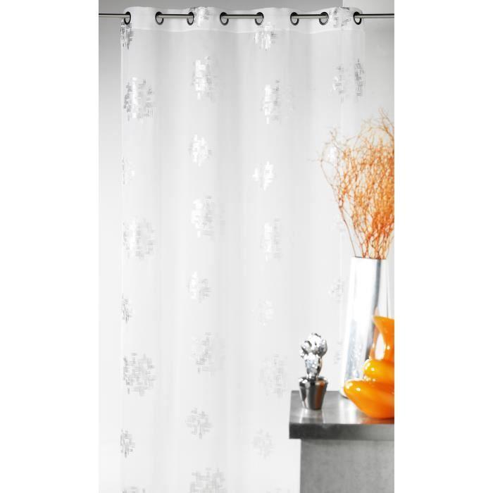 Voilage - Blanc - 140x240cm - 100% Polyester - 8 Œillets ronds argentés - Vendu à l'unité - Prêt-à-poserVOILE - VOILAGE