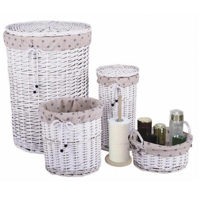 Set de salle de bain panier à linge+corbeilles   Achat / Vente