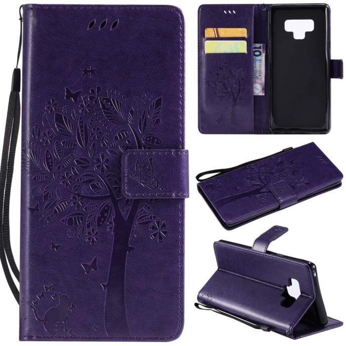 Coque Pour Samsung Galaxy Note 9 Chat Arbre Cuir Textile - Violet