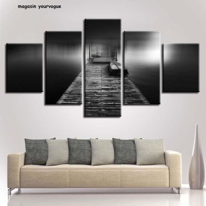 Décor Chambre Mur Noir et Blanc Affiches Modulaire Toile Photos 5 ...