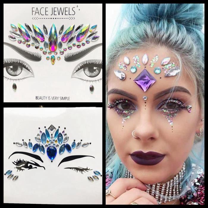2 Morceaux Sexy Charme Temporaire Oeil Tatouage Diamant Autocollants