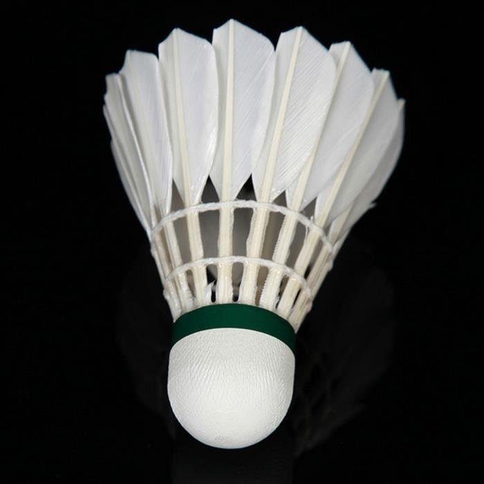12Pcs Durable Plume de canard Badminton Shuttlecock de formation de match de culturisme - Blanc