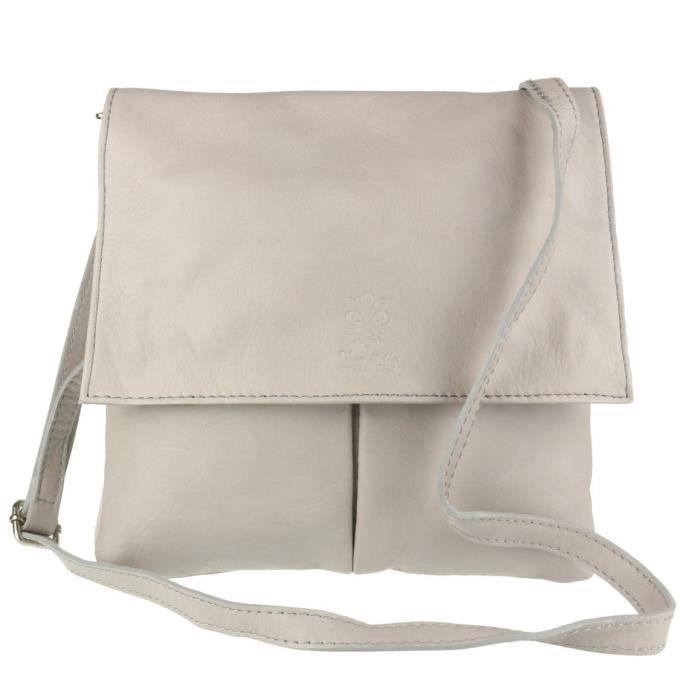 Double Pocket cuir italien Messenger Bag Y5V1L
