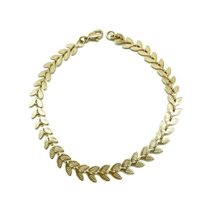Bracelet gourmette en plaqué or avec feuille PALMYRE