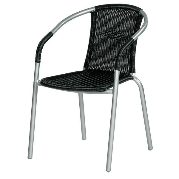 chaise bistro en acier et aspect rotin achat vente fauteuil jardin chaise bistro en acier. Black Bedroom Furniture Sets. Home Design Ideas
