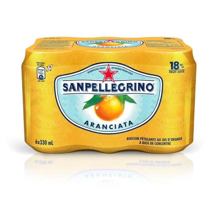EAU PÉTILLANTE SAN PELLEGRINO Aranciata Orange - 6 x 33 cl