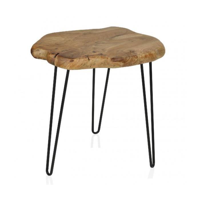 Table D Appoint Rondin Cedre Et Pieds Metal Noir 0 000000 Bois