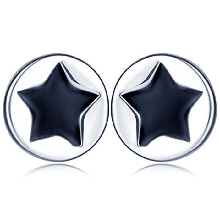 Boucle DOreille Cercle Simple Et Étoile En Dedans S925 Argent Et Black Epoxy Clou DOreille Noir Aimable Pour Femme Fille