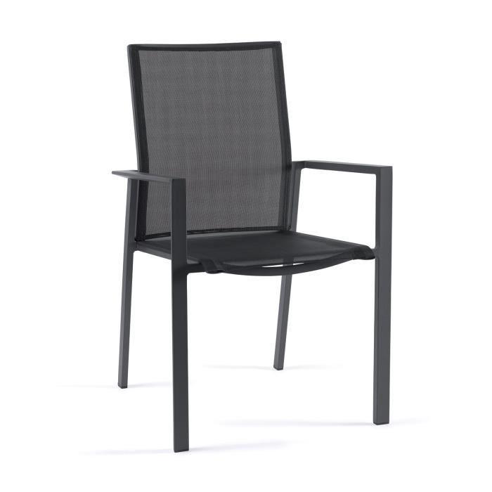 Chaise en alu anthracite et textilène noir Gazzo - Achat / Vente ...