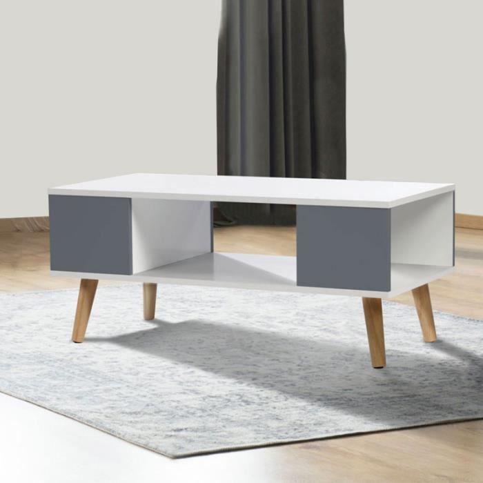 TABLE BASSE Table basse EFFIE scandinave bois blanc et gris