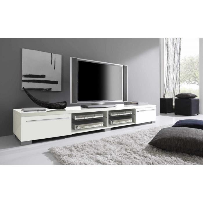 meuble tv blanc napia 208 cm achat vente meuble tv. Black Bedroom Furniture Sets. Home Design Ideas