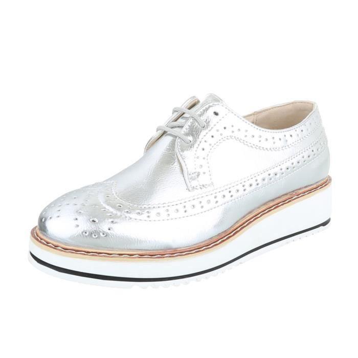 Femme chaussures flâneurs lacer argent 41