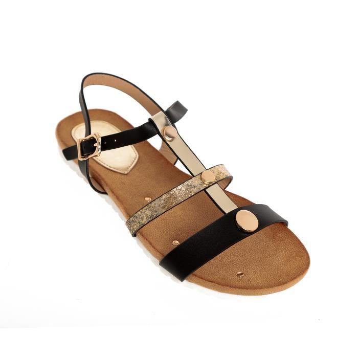 Sandales plates brides femme