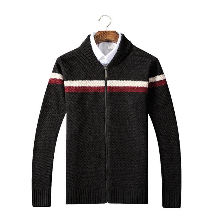 Éclair Vêtement Cheminée Hommes Gilet Masculin Homme Col Manteau Fermeture Noir OPZkiuwXT