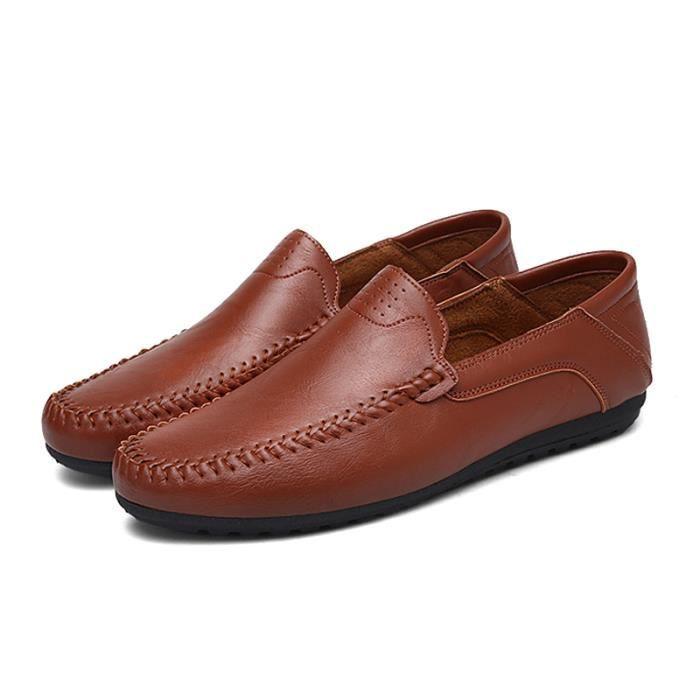 Mocassin Hommes Comfortable Detente Chaussures BDG-XZ74Rouge41