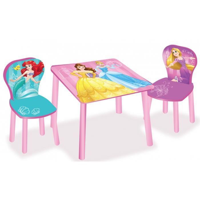 ensemble table et 2 chaises fille rose ariel raiponce belle