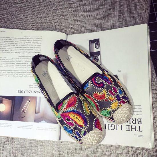 Femmes Casual Slip sur chaussures de loisirs loisirs loisirs en dentelle souple fond plat respirant noir Noir Noir - Achat / Vente slip-on 2b6e5b
