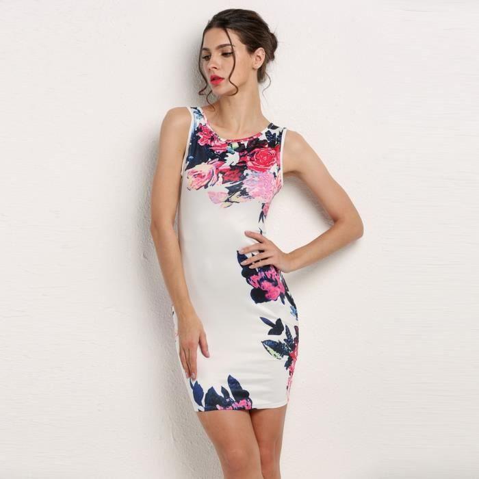 robe féminins Slim Sexy sans manches de O-cou chic