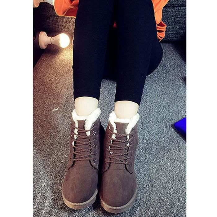 Tomwell Femme Sneaker Up Cheville Neige Lace Suede Hiver Boots Chaudes Chaussures Flat Fourrure ddqUwrg7R
