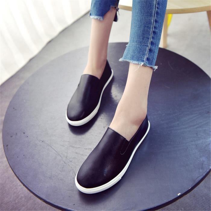 Antidérapant 39 Nouvelle blanc Mode 35 Chaussures Femme Confortable Mocassin Loisirs Noir 7q8v6Y