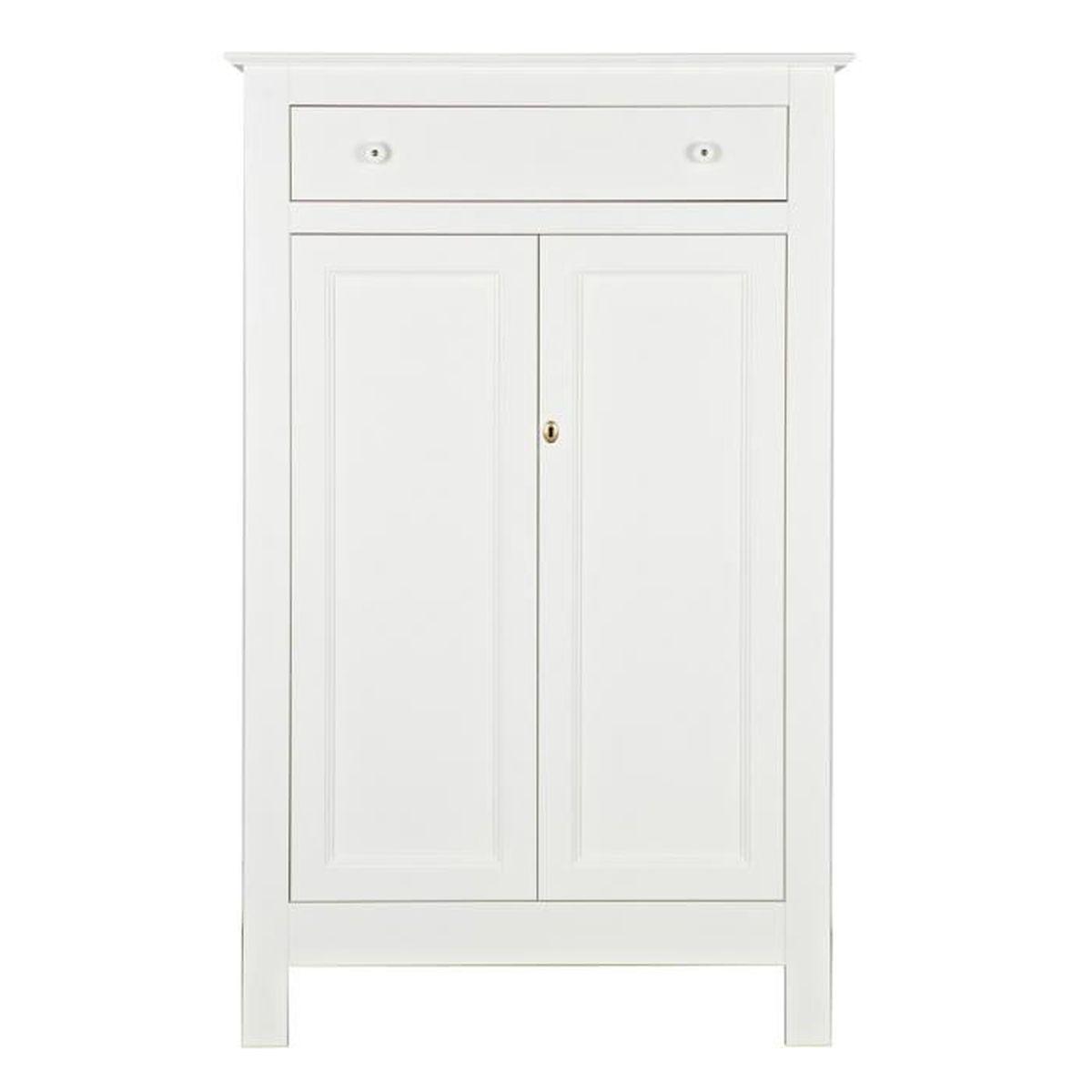 armoire enfant avec 2 portes, en pin massif finition blanc - dim : h