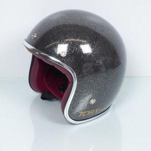 CASQUE MOTO SCOOTER Casque jet Torx Wyatt Glitter Anthracite gris moto