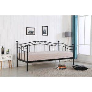 lit adulte 90x190 achat vente lit adulte 90x190 pas cher cdiscount. Black Bedroom Furniture Sets. Home Design Ideas