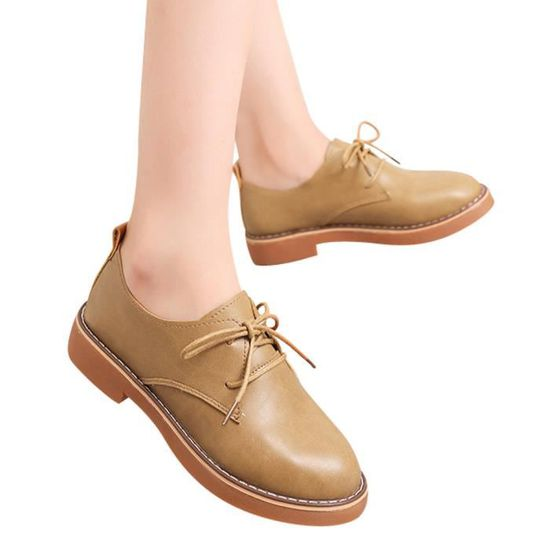 Mode Ljd807028910bw37 Chaussures Court Casual Marron Femme Cuir kwuTiOPZXl
