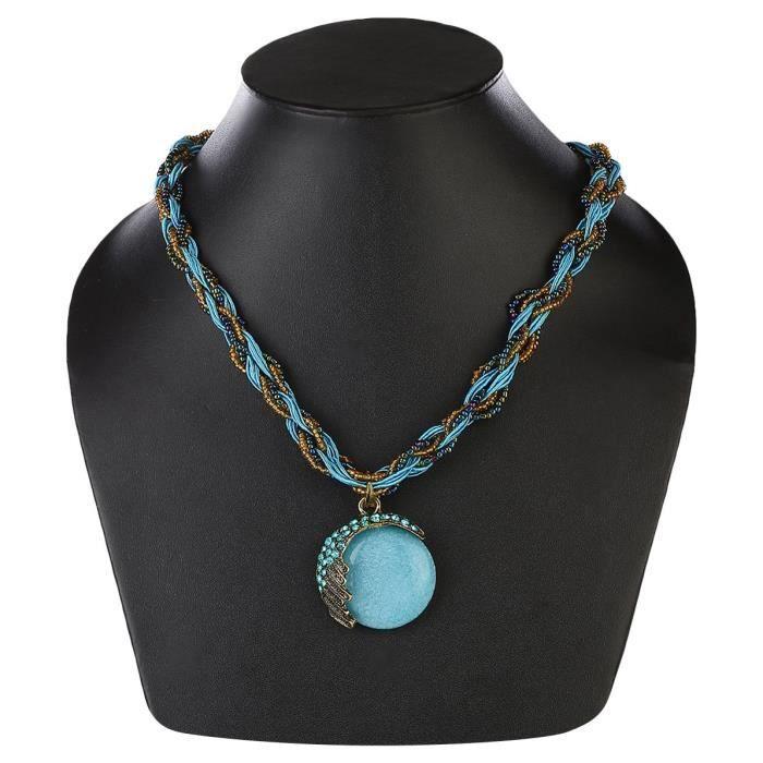 Perles Bleues chaîne Pendentif Collier Femme Pour EtJYCEU