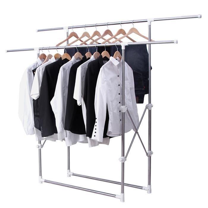 Portant / Penderie À Vêtement 2 Barres Hauteur Réglables, Tube En