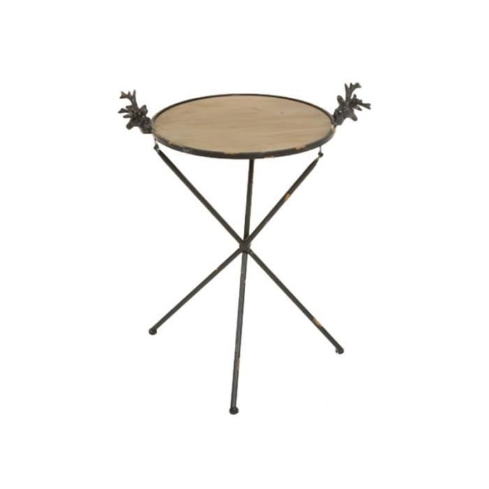 Petite Table Ronde Bois De Cerfs En Bois Et Métal Style Industriel