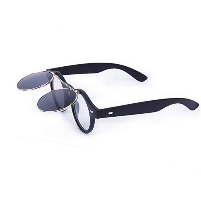 Flip Up Steampunk De Eyeware Lunettes Style Creative Soleil Vintage Rétro Couches Double Unisexe Rond Lentille Noir w0vNnm8O