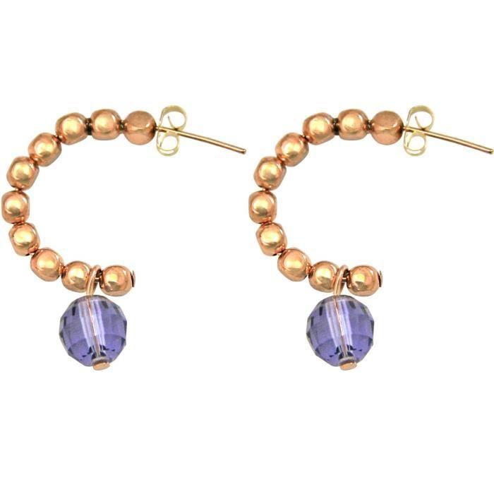 Gemshine - Dames - Boucles doreilles - plaqué or rose - boucle - Violet Bleu - 3 cm