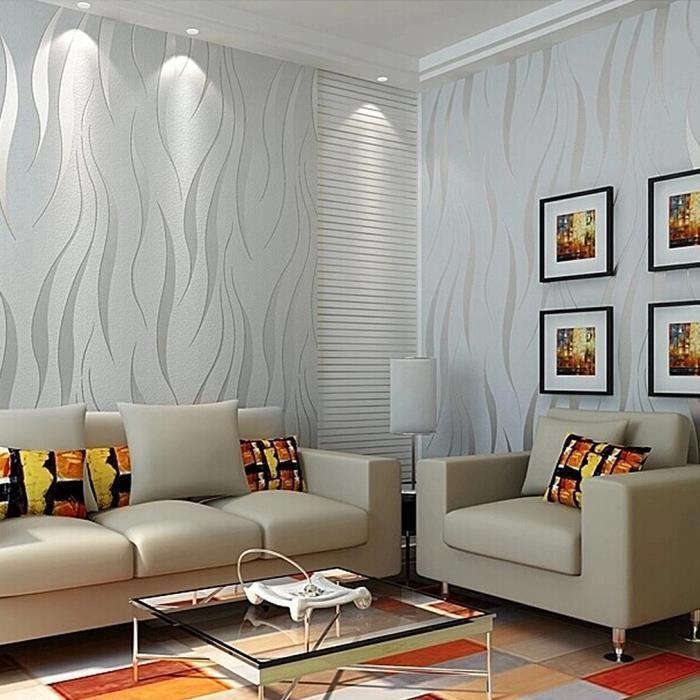 Kinlo 10m 0 53m Papier Peint 3d Flocage Gris En Intisse Wall