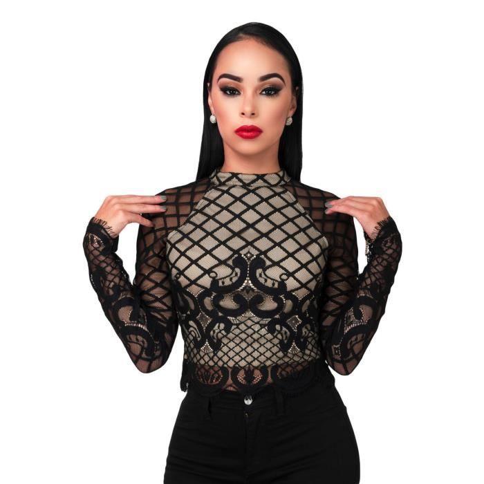 Top noir semi-transparent manches longues Noir - Achat   Vente t ... 0e1ddbb014a
