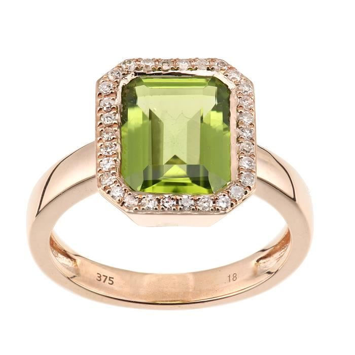Revoni - Bague rectangulaire en or rose 9 carats, diamants et péridots