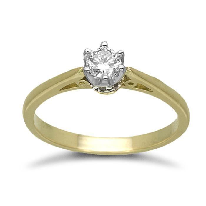 Jewelco London sans-conflit Femmes Solide Or Jaune 18k 6Griffes Rond Brillant G SI Diamant Solitaire Engagement Bague