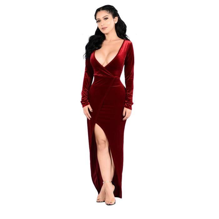 robe des femmes de couleur unie manches longues col V profond mince robe complète sexy