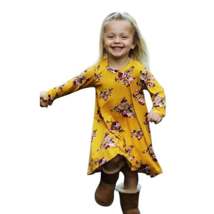 Robe Fleurie En Coton Robe Automne Printemps Hiver Manches Longues