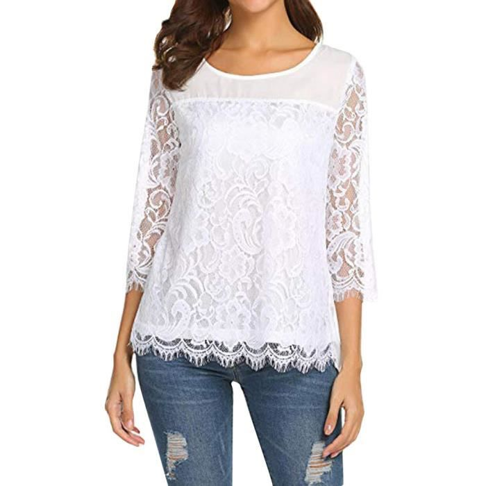 site réputé 96074 48849 amour@ Femme Automne O cou à manches 3-4 en dentelle mousseline Chemisier  de Casual Hauts T-shirt blanc
