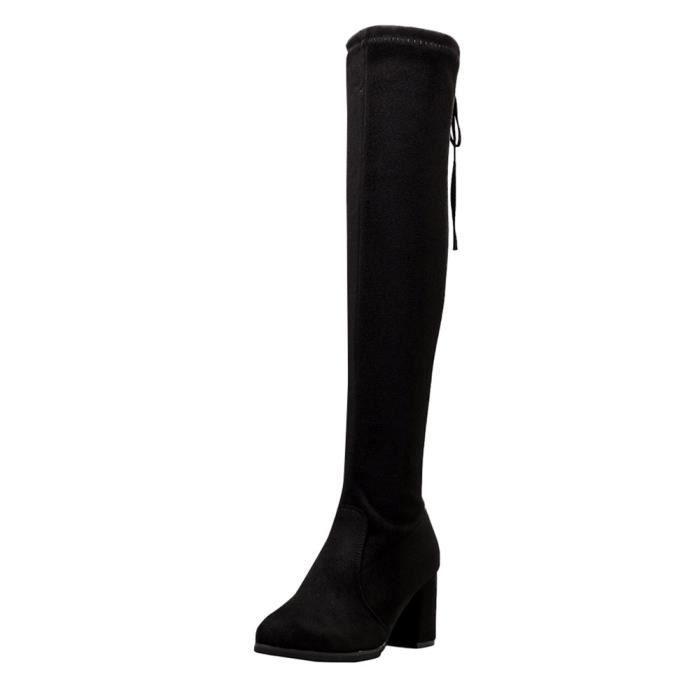 Chaussures à talon classique de femmes Cuissardes Talons Zip Ladies Martin Bottes Noir