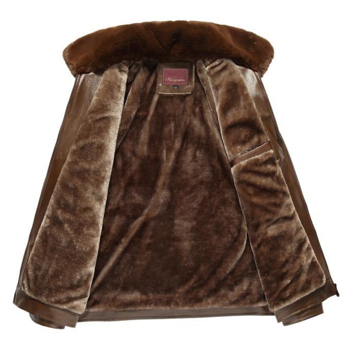 En Cuir D'homme Amovibles Tops Pure Col De Imitation D'hiver Fourrure Zipper Couleur Manteau Pw77qHSC