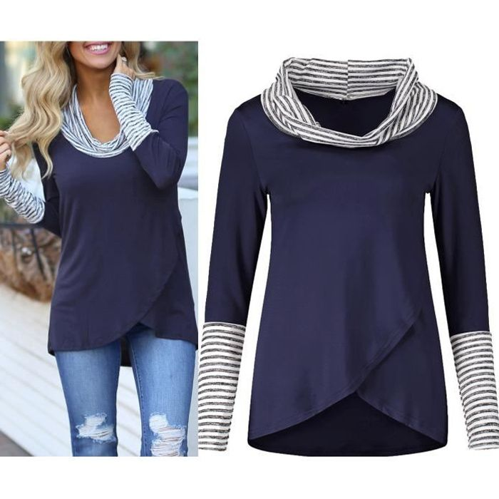 3fdc0231fac9 ... Longues Tops Pull Col Rond Rayure Tee Shirt Casual Chemisier Blouse  Bleu. CHEMISIER - BLOUSE T-Shirt Femme Tunique Haut Femme Chic Manches Long