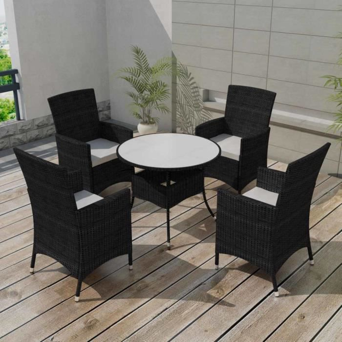 9 pcs Mobilier de jardin Noir Résine tressée Salon de jardin Jeu de canapé  Ensembles de meubles d\'exterieur
