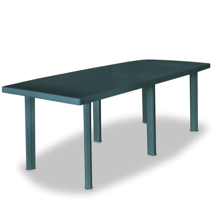 Table de jardin 210 x 96 x 72 cm Plastique Vert - Achat / Vente ...