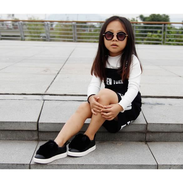Enfants filles chaussures plates Chaussures en fourrure
