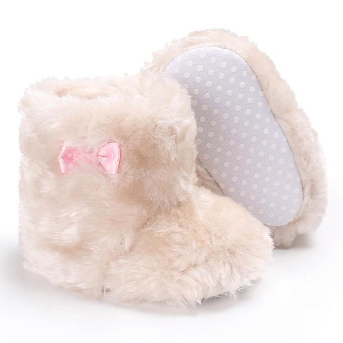 BOTTE Nouveau-né bébé fille bowknot velours moelleux chaussures doux semelle crèche enfant en bas âge anti-dérapant@BeigeHM