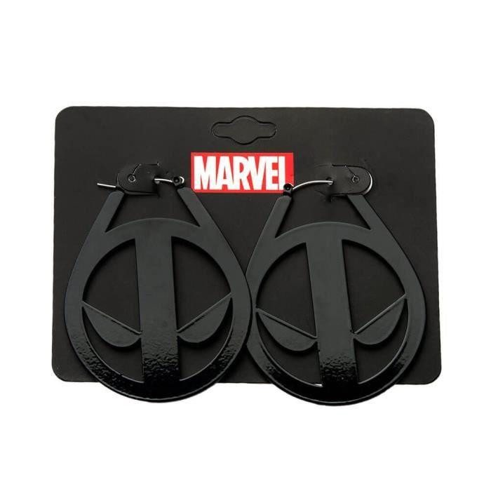 Boucles dOreilles Masque officiel Deadpool de Marvel sous licence Grande en acier inoxydable