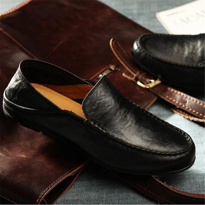 Mocassins Hommes Cuir Printemps Ete Leger Mode Plat Chaussures DTG-XZ078Noir40