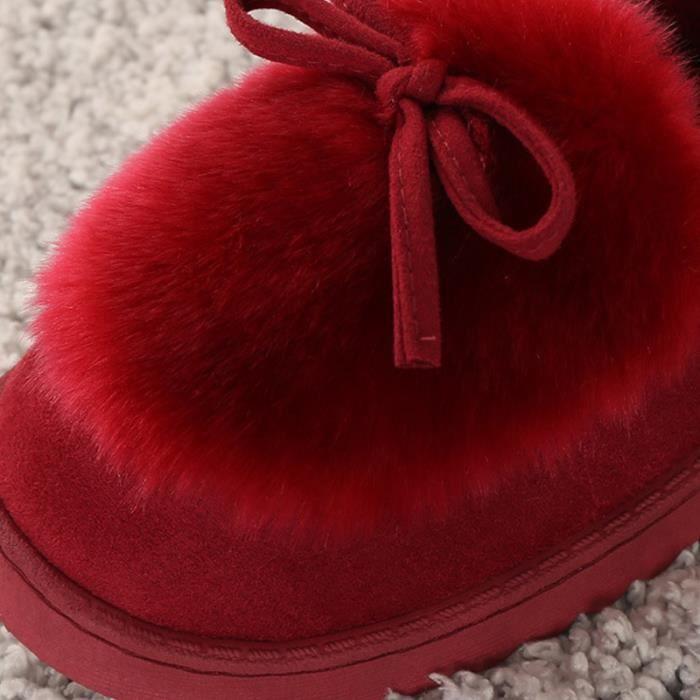 xz065rouge36 Femme noir Jaune Fond gris Bgd Chaussures rouge Chaussure Hiver Peluche rose Pais UwUT0d